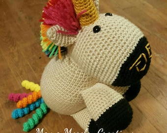 Rainbow unicorn with tan body