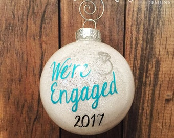 Engagement Christmas Ornament, Glitter Ornament, Personalized Engagement Gift, Wedding Ornament, Just Engaged Gift, Our First Christmas