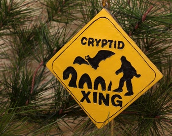Cryptid Bigfoot Crossing Ornament, Cryptid Xing Christmas Tree Ornament, Cryptozoology Christmas Ornament, Unique Geeky Christmas Ornament