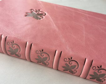 Pink leather journal / note book / diary with embossed gunmetal orchid embellishment