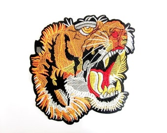 Iron On Laculo Tiger Patch,Back patch, Large Tiger Head Patch, Animal Patches, Erbroidered patch, İron on or Sew on Patch