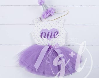 First Birthday outfit, First Birthday Dress, Purple birthday outfit, 1st birthday outfit, 1st birthday dress, polka dots, heart,