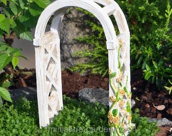 English Rose Arbor for Miniature Garden, Fairy Garden