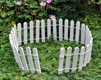 White Wood Picket Fence for Miniature Garden, Fairy Garden