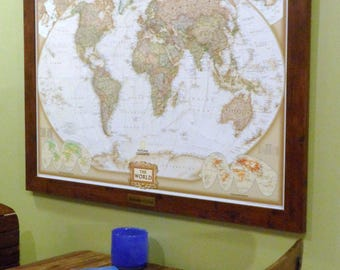 Anniversary Framed Push Pin World Map