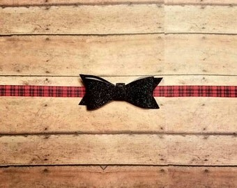 Red plaid flannel holiday headband with glitter bow for baby, toddler and adult