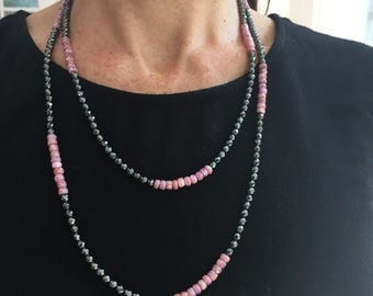 Wrap Necklace with Hematite and Pink Sapphire , Beaded Wrap Necklace, Long Multi Use Necklace,Wife Gift,Stocking Stuffer,Gift Ideas for Wife