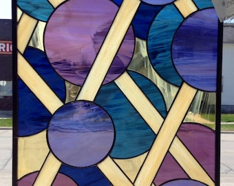 Blueberry Waffle Large Stained Glass Panel