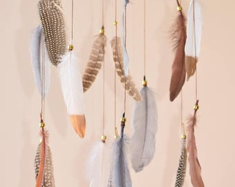 Baby Boy Woodland Nursery Decor, Dreamcatcher Mobile, Native American Style, Feathers Mobile, Woodland Mobile, Tribal Decor