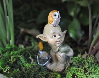 Garden Pixie with Owl+Fairy Garden Sculpture+Fairy Garden Statue+Fairy Garden Miniature+Fairy Garden Accesories+Fairy Garden Supplies