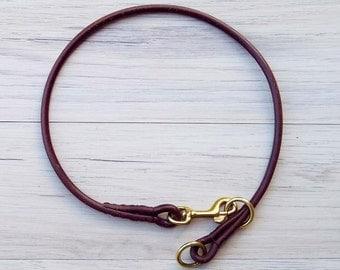 Premium Round Leather Dog American Slip Collar