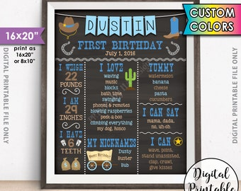 "Cowboy First Birthday Board, 1st Birthday, First B-day Personalized Milestones Custom Stats Poster, 8x10/16x20"" Chalkboard Style Printable"