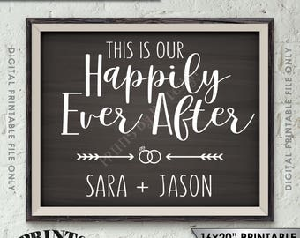 """This Is Our Happily Ever After Wedding Sign, Welcome to Our Wedding Welcome Sign, Reception, 8x10/16x20"""" Chalkboard Style Printable Sign"""