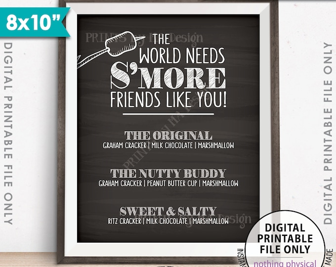 """S'more Menu, The World Needs S'more Friends Like You Smore Menu, Smores, Smore Bar, 8x10"""" Chalkboard Style Printable Instant Download"""