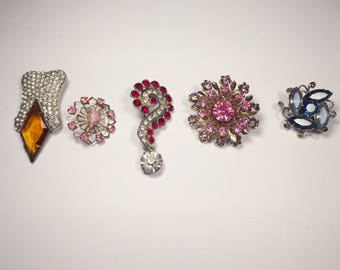 5 Pretty Brooches, Rhinestone Brooches, Gemstone Brooches, Vintage Pins, Gifts For Her, Vintage Brooches, 1950s 1960s Retro Jewelry