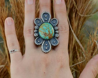 SALE Large handmade Natural Kingman Turquoise flower petal statement ring ready to size