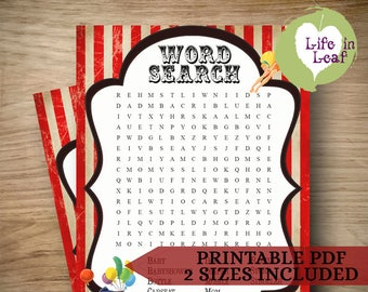 Baby Shower Game ~ Circus themed Baby Word Search ~ INSTANT DOWNLOAD