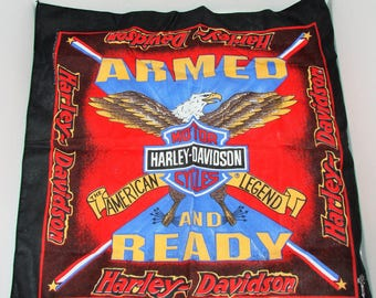 VIntage Harley Davidson Armed and Ready Eagle Bandana Handkerchief Scarf Do Rag