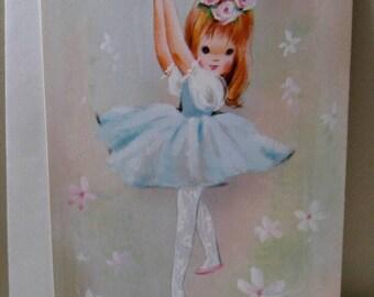 Vintage Ballerina Happy Birthday greeting card redheaded dancer / tiny dancer / birthdays / greetings / vintage lover / decor