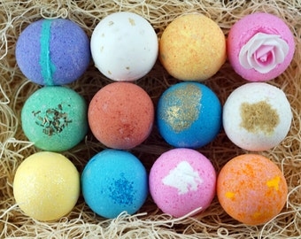 12 Bath Bomb Gift Set, Luxurious Gift Set, Assorted Scent or You Choose, Freshly Handmade In USA with All Natural Ingredients