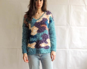 Vintage Colorful Abstract Pattern Fluffy and Fuzzy Sweater