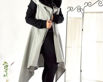 Wool Winter Casual Asymmetric Coat/Grey and black coat/Long zipper coat/ Warm casual Extravagant coat/Woman Wool 100% Lining coat/C0252