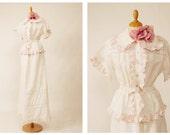 Autentico vintage anni 1970 sposa bianca di lino lungo vestito abito VALENTINO S