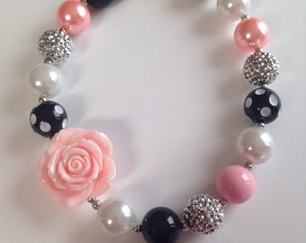 Pink and black rose chunky necklace