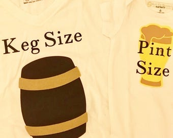 Humorous Keg Size and Pint Size Father/ Mother and Child Set