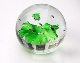 Lovely Spherical Frog and Lilypad Glass Paperweight 3 inches Excellent