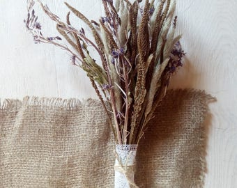 Dried wildflowers bouquet, rustic bouquet, dried meadow flowers and grass, natural eco country minimalist woodland decor