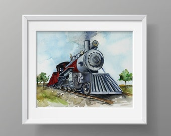 Train Watercolor Art Print