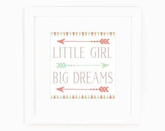 Baby Girl Nursery Decor - Little Girl Big Dreams - Art with Arrows - Art for little girls - Art for girls room - Art for girls Bathroom