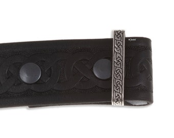 40mm Celtic knotwork belt – black leather – (all sizes)  Hand Made and Design in UK