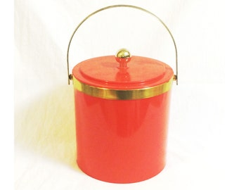 Vintage Orange Plastic Insulated Ice Bucket