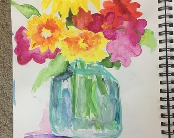 Watercolor flowers, wall decor