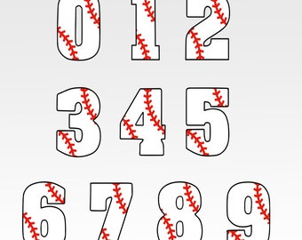 Baseball Font svg, Numbers, SVG, DXF, EPS, svg cutting files, For use in Silhouette studio designer edition and Cricut Design Space