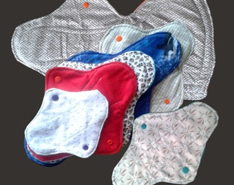 Sampling set mama cloth pads, one of each with postpartum