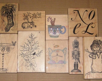 Used Rubber Stamps Lot of 9 Christmas stamps / craft/ card making/ supplies/ ink/ scrap books