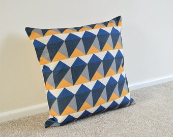 Blue, Yellow, Grey-Black Geometric/Scandi Cotton Linen Cushion/Pillow Cover - Home decor- in 18 x 18""