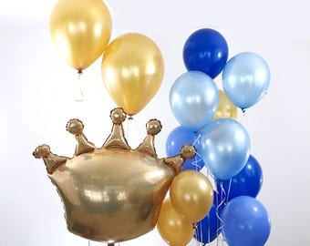 Crown Balloon Bouquet | Prince Baby Shower | Prince Baby | Boy Baby Shower | Crown Balloon | Gold Balloons | Giant Balloons | Crown Theme