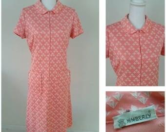 Kimberly Vintage 60s-70s  100% Dacron Salmon Pink Dress Size L