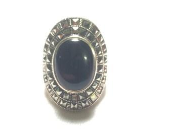 Designer 925 sterling silver black onxy cross back ring size 6.25