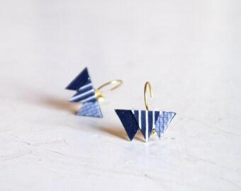 brass earrings, fabric earrings, mountain, triangle earrings, unique earrings, gift for her, handmade in italy, fabirc jewellery