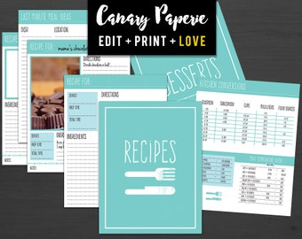 "Printable Recipe Binder Organizer // Over 30 Print Ready 8.5""x11"" Pages in Teal for Cooking and Baking - Digital PDF + Instant Download"