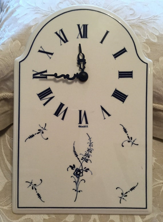 Villeroy & Boch, Vieux Luxembourg, blue and white porcelain, clock with arched top