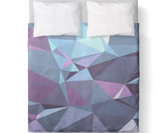 Duvet Cover - Purple Blue Grey Geometric / Comforter cover/  KING, QUEEN, TWIN /bedding/ Dorm Room / Student/ Purple Duvet Cover
