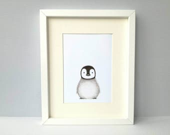 Penguin print, penguin chick, little baby penguin unframed picture 7x5