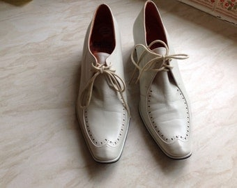 CJBIS vintage-look all leather shoes in ivory UK 5 US 7