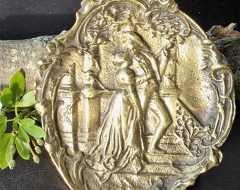 Brass Wall Plaque - Oval with Romantic 18th Century Scene
